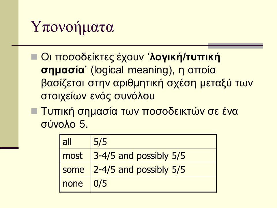 Υπονοήματα Οι ποσοδείκτες έχουν 'λογική/τυπική σημασία' (logical meaning), η οποία βασίζεται στην αριθμητική σχέση μεταξύ των στοιχείων ενός συνόλου Τυπική σημασία των ποσοδεικτών σε ένα σύνολο 5.
