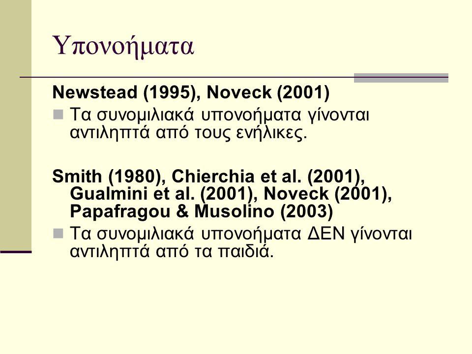 Υπονοήματα Newstead (1995), Noveck (2001) Τα συνομιλιακά υπονοήματα γίνονται αντιληπτά από τους ενήλικες.