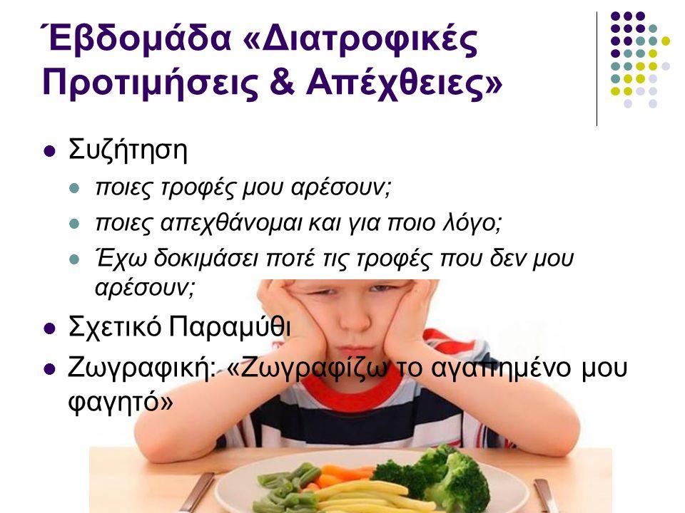 Έβδομάδα «Διατροφικές Προτιμήσεις & Απέχθειες» Συζήτηση ποιες τροφές μου αρέσουν; ποιες απεχθάνομαι και για ποιο λόγο; Έχω δοκιμάσει ποτέ τις τροφές που δεν μου αρέσουν; Σχετικό Παραμύθι Ζωγραφική: «Ζωγραφίζω το αγαπημένο μου φαγητό»
