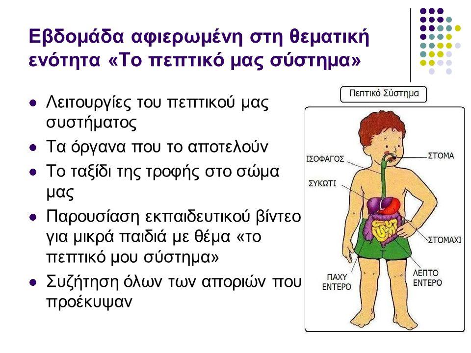 Εβδομάδα αφιερωμένη στη θεματική ενότητα «Το πεπτικό μας σύστημα» Λειτουργίες του πεπτικού μας συστήματος Τα όργανα που το αποτελούν Το ταξίδι της τροφής στο σώμα μας Παρουσίαση εκπαιδευτικού βίντεο για μικρά παιδιά με θέμα «το πεπτικό μου σύστημα» Συζήτηση όλων των αποριών που προέκυψαν