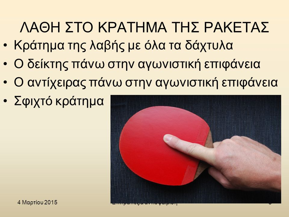 4 Μαρτίου 2015Επιτραπέζια αντισφαίριση19 ΣΚΟΠΟΣ Να παίξει ο παίκτης επιθετικά Να σταματήσει το επιθετικό χτύπημα του αντιπάλου (η μπάλα να κατευθυνθεί στην τελική ή στις πλάγιες γραμμές της πλευράς του τραπεζιού του αντιπάλου)