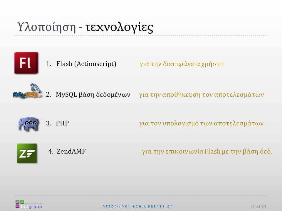 Υλοποίηση - τεχνολογίες http://hci.ece.upatras.gr 12 of 20 1.Flash (Actionscript) για την διεπιφάνεια χρήστη 2.