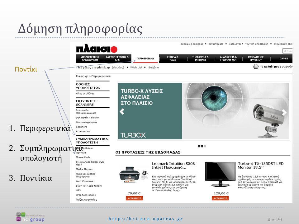 Δόμηση πληροφορίας 4 of 20 http://hci.ece.upatras.gr Ποντίκι 1.Περιφερειακά 2.Συμπληρωματικά υπολογιστή 3.Ποντίκια