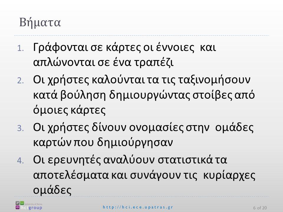 Βήματα http://hci.ece.upatras.gr 1. Γράφονται σε κάρτες οι έννοιες και απλώνονται σε ένα τραπέζι 2.