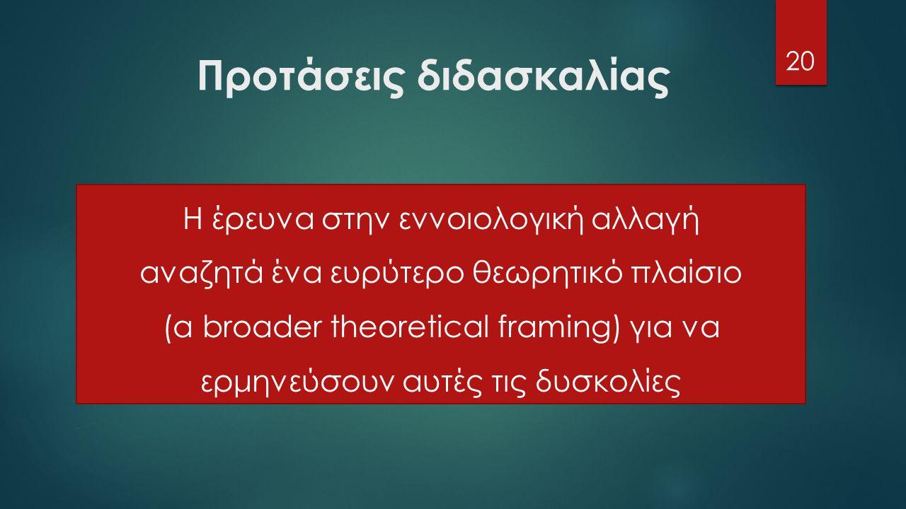 Προτάσεις διδασκαλίας 20 Η έρευνα στην εννοιολογική αλλαγή αναζητά ένα ευρύτερο θεωρητικό πλαίσιο (a broader theoretical framing) για να ερμηνεύσουν αυτές τις δυσκολίες