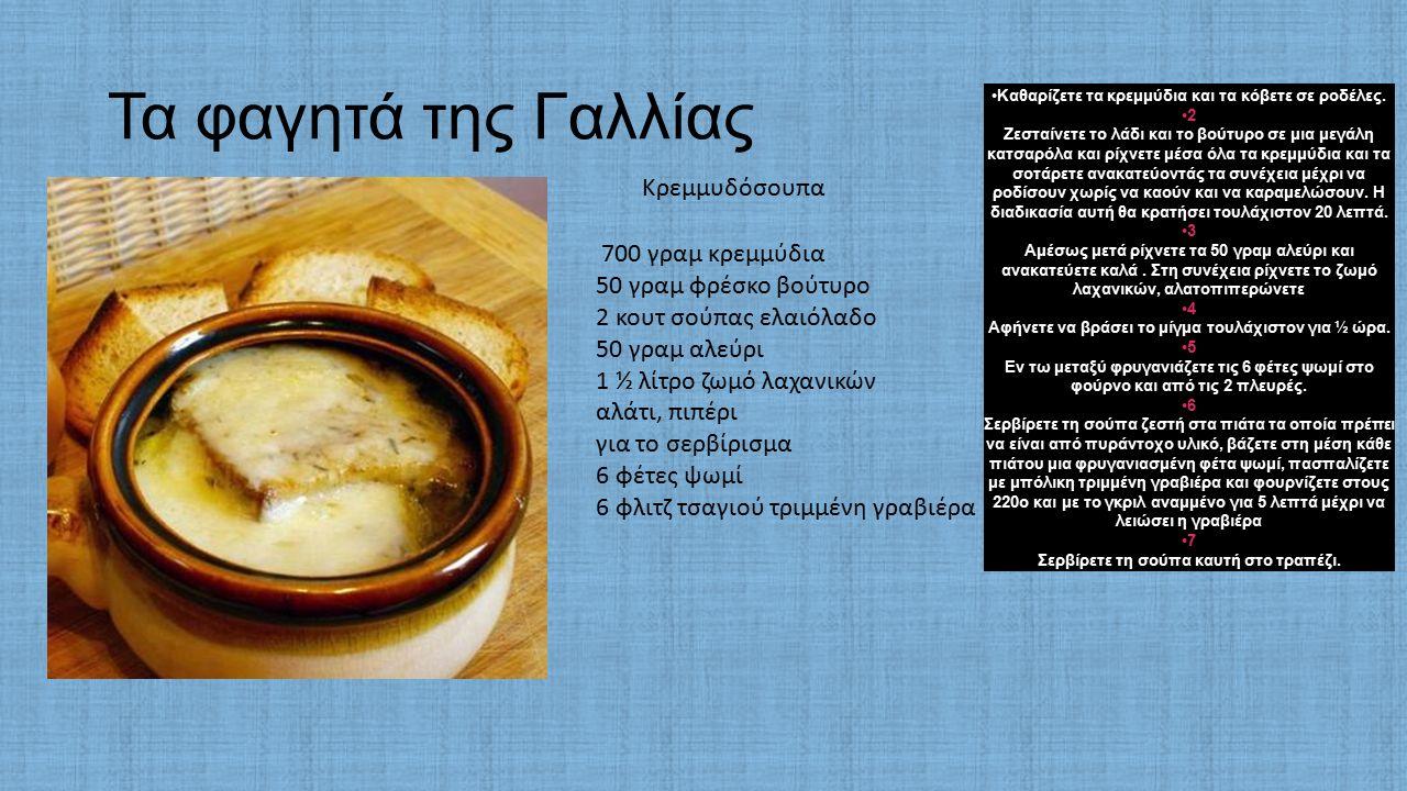 Τα φαγητά της Γαλλίας 700 γραμ κρεμμύδια 50 γραμ φρέσκο βούτυρο 2 κουτ σούπας ελαιόλαδο 50 γραμ αλεύρι 1 ½ λίτρο ζωμό λαχανικών αλάτι, πιπέρι για το σερβίρισμα 6 φέτες ψωμί 6 φλιτζ τσαγιού τριμμένη γραβιέρα Καθαρίζετε τα κρεμμύδια και τα κόβετε σε ροδέλες.
