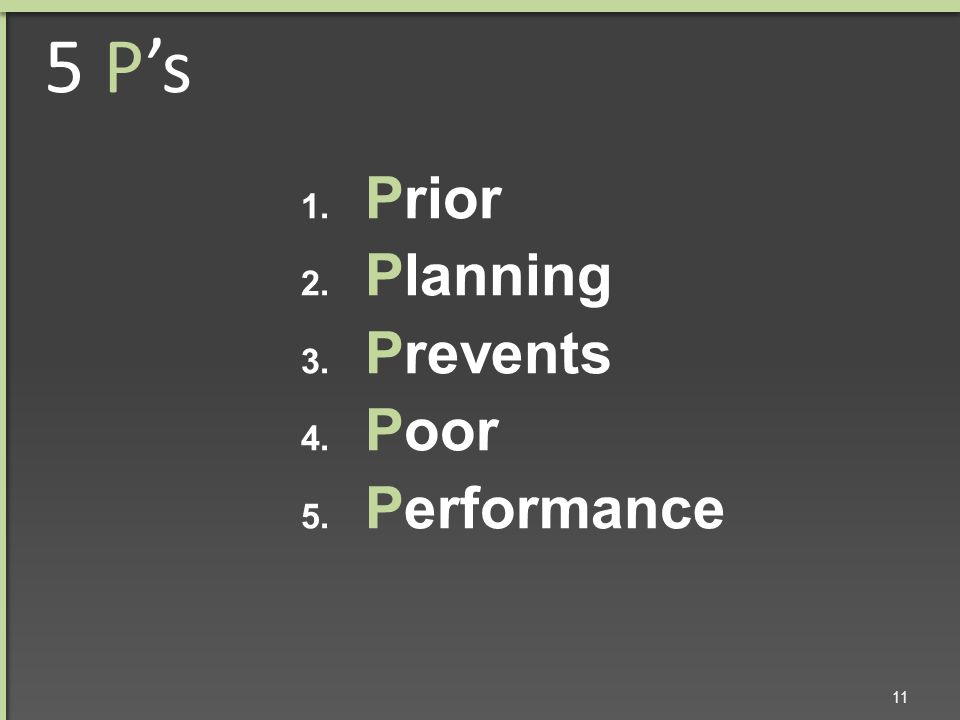 5 P's 1. Prior 2. Planning 3. Prevents 4. Poor 5. Performance 11