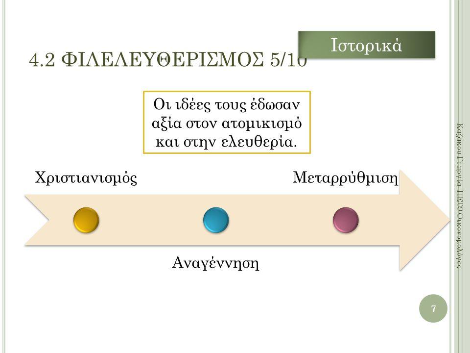 Χριστιανισμός Αναγέννηση Μεταρρύθμιση 7 Καζάκου Γεωργία, ΠΕ09 Οικονομολόγος 4.2 ΦΙΛΕΛΕΥΘΕΡΙΣΜΟΣ 5/10 Οι ιδέες τους έδωσαν αξία στον ατομικισμό και στην ελευθερία.