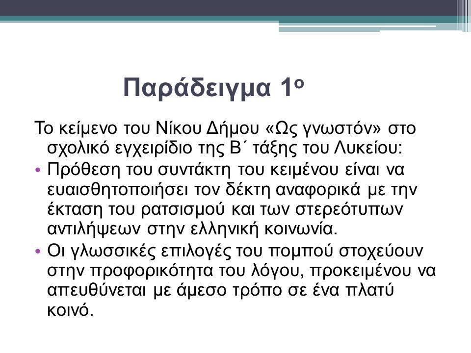 Παράδειγμα 1 ο Το κείμενο του Νίκου Δήμου «Ως γνωστόν» στο σχολικό εγχειρίδιο της Β΄ τάξης του Λυκείου: Πρόθεση του συντάκτη του κειμένου είναι να ευαισθητοποιήσει τον δέκτη αναφορικά με την έκταση του ρατσισμού και των στερεότυπων αντιλήψεων στην ελληνική κοινωνία.