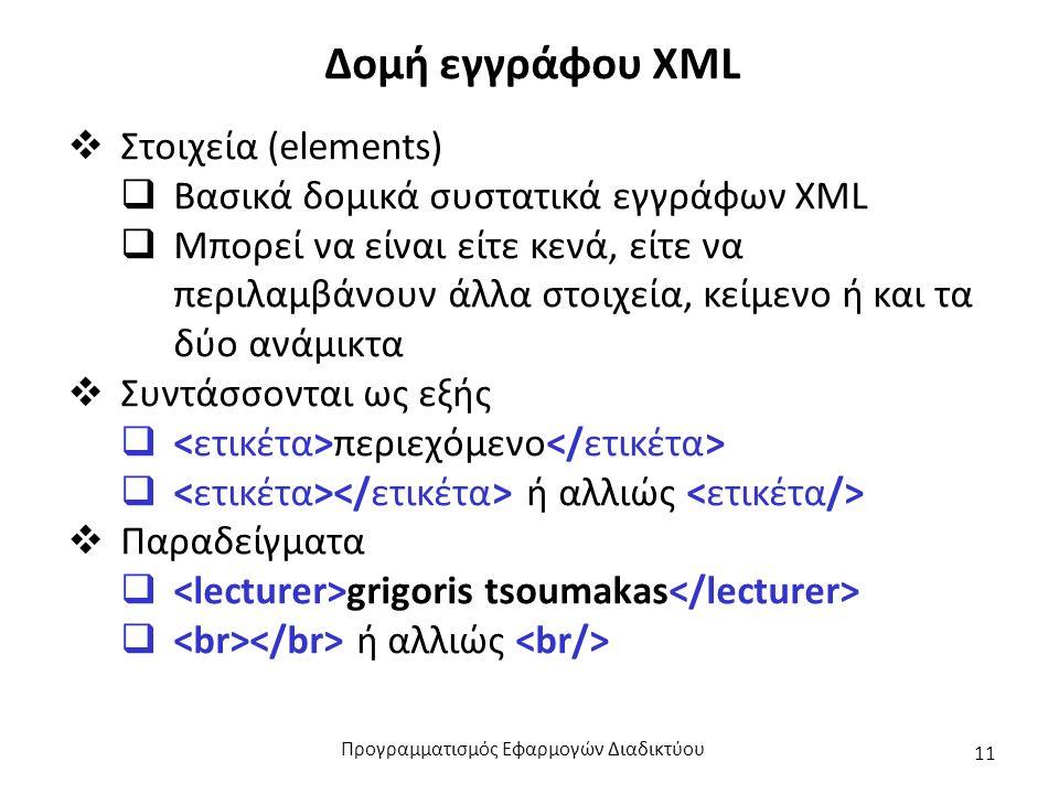 Δομή εγγράφου XML  Στοιχεία (elements)  Βασικά δομικά συστατικά εγγράφων XML  Μπορεί να είναι είτε κενά, είτε να περιλαμβάνουν άλλα στοιχεία, κείμενο ή και τα δύο ανάμικτα  Συντάσσονται ως εξής  περιεχόμενο  ή αλλιώς  Παραδείγματα  grigoris tsoumakas  ή αλλιώς Προγραμματισμός Εφαρμογών Διαδικτύου 11