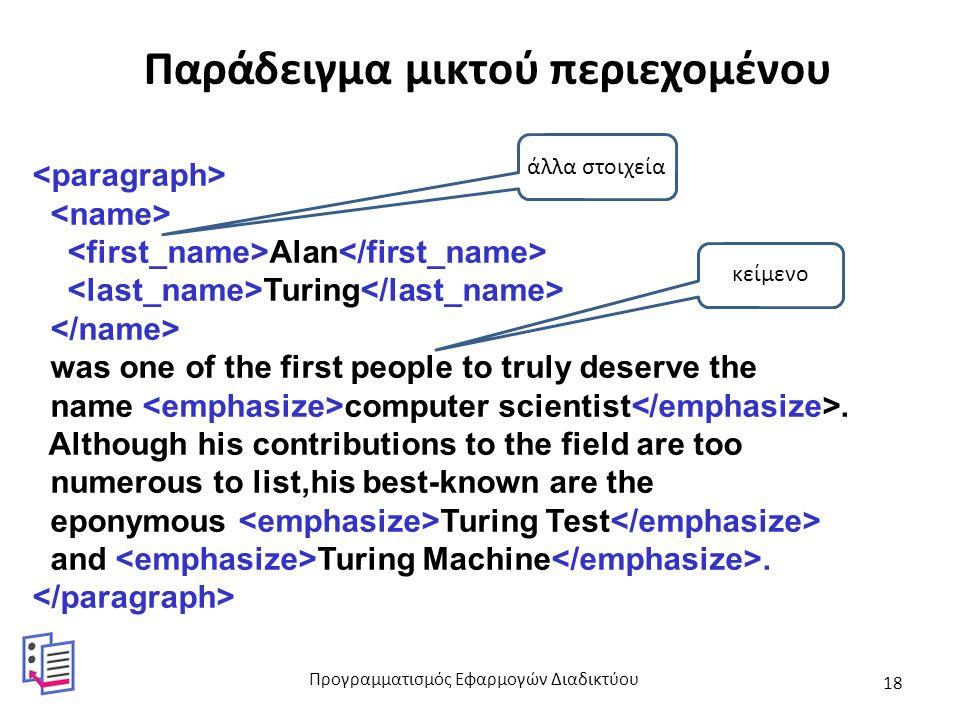 Παράδειγμα μικτού περιεχομένου Alan Turing was one of the first people to truly deserve the name computer scientist. Although his contributions to the