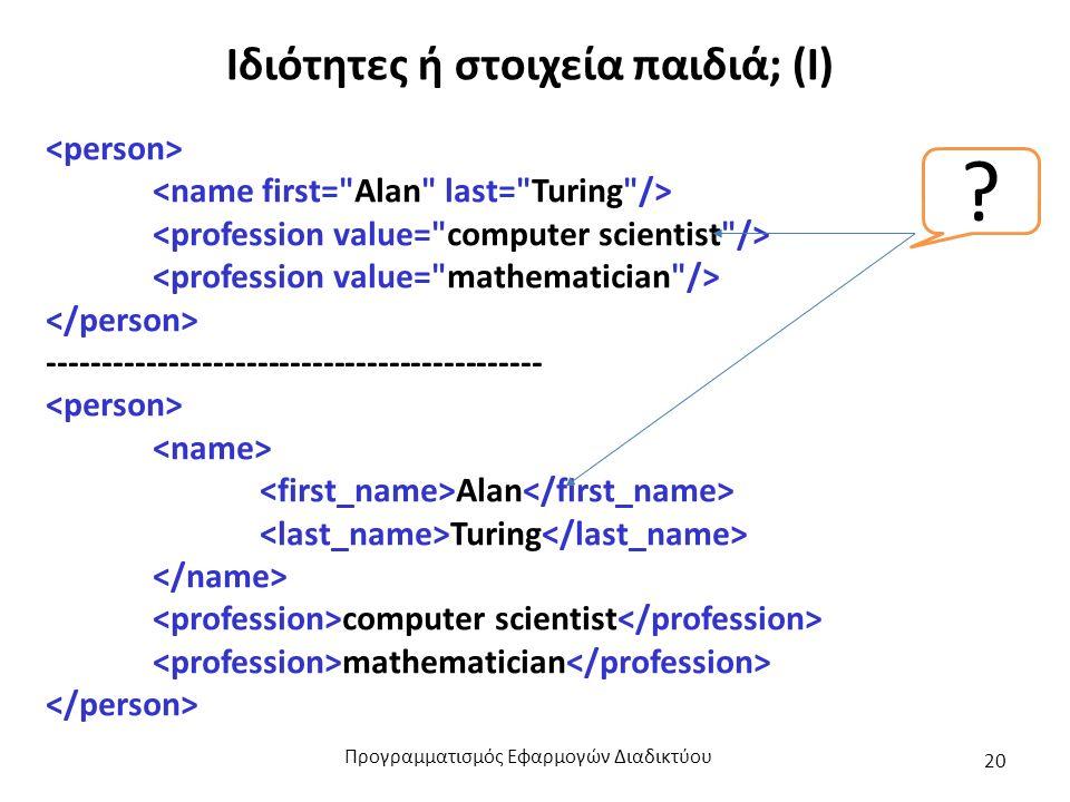 Ιδιότητες ή στοιχεία παιδιά; (Ι) --------------------------------------------- Alan Turing computer scientist mathematician ? Προγραμματισμός Εφαρμογώ