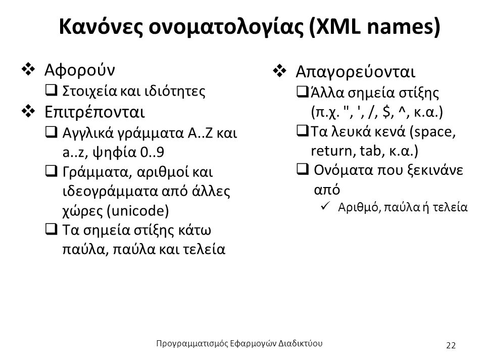 Κανόνες ονοματολογίας (XML names)  Αφορούν  Στοιχεία και ιδιότητες  Επιτρέπονται  Αγγλικά γράμματα Α..Ζ και a..z, ψηφία 0..9  Γράμματα, αριθμοί και ιδεογράμματα από άλλες χώρες (unicode)  Τα σημεία στίξης κάτω παύλα, παύλα και τελεία  Απαγορεύονται  Άλλα σημεία στίξης (π.χ.