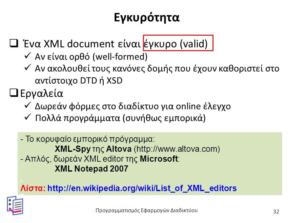 Εγκυρότητα  Ένα XML document είναι έγκυρο (valid) Αν είναι ορθό (well-formed) Αν ακολουθεί τους κανόνες δομής που έχουν καθοριστεί στο αντίστοιχο DTD ή XSD  Εργαλεία Δωρεάν φόρμες στο διαδίκτυο για online έλεγχο Πολλά προγράμματα (συνήθως εμπορικά) - Το κορυφαίο εμπορικό πρόγραμμα: XML-Spy της Altova (http://www.altova.com) - Απλός, δωρεάν XML editor της Microsoft: XML Notepad 2007.
