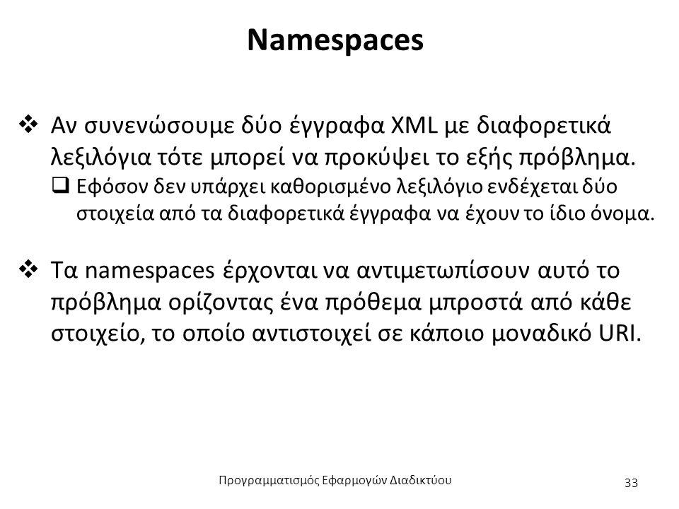 Namespaces  Αν συνενώσουμε δύο έγγραφα XML με διαφορετικά λεξιλόγια τότε μπορεί να προκύψει το εξής πρόβλημα.  Εφόσον δεν υπάρχει καθορισμένο λεξιλό