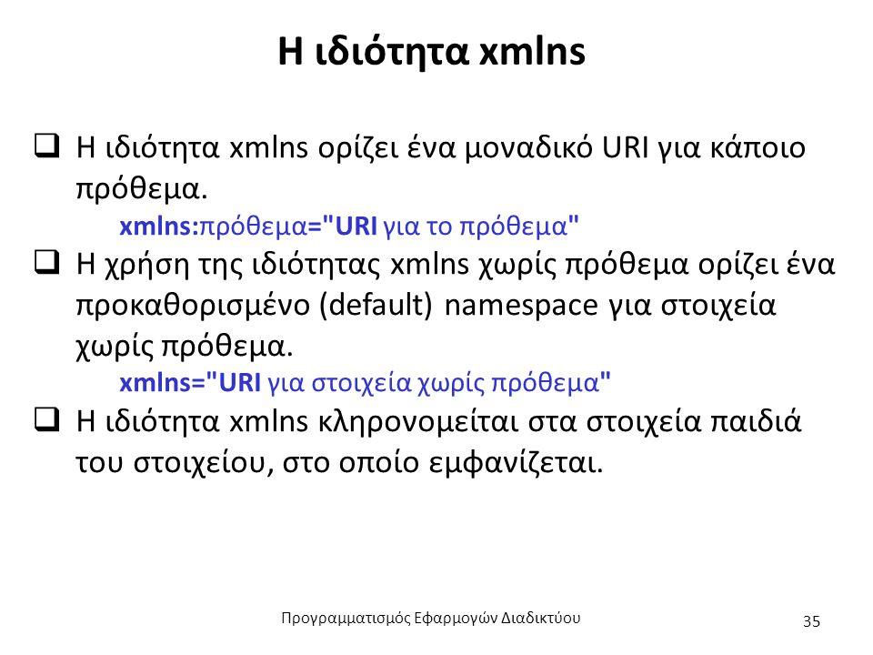 Η ιδιότητα xmlns  Η ιδιότητα xmlns ορίζει ένα μοναδικό URI για κάποιο πρόθεμα. xmlns:πρόθεμα=