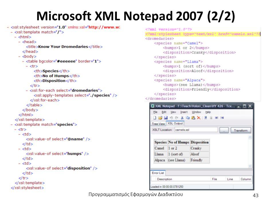 Microsoft XML Notepad 2007 (2/2) Προγραμματισμός Εφαρμογών Διαδικτύου 43