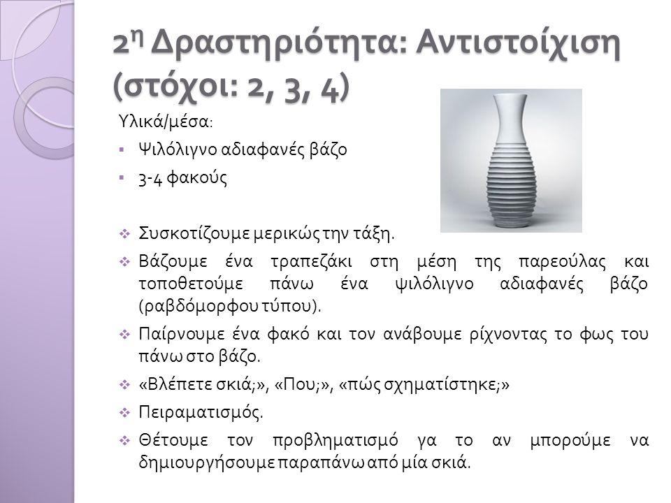 2 η Δραστηριότητα : Αντιστοίχιση ( στόχοι : 2, 3, 4) Υλικά / μέσα :  Ψιλόλιγνο αδιαφανές βάζο  3-4 φακούς  Συσκοτίζουμε μερικώς την τάξη.  Βάζουμε
