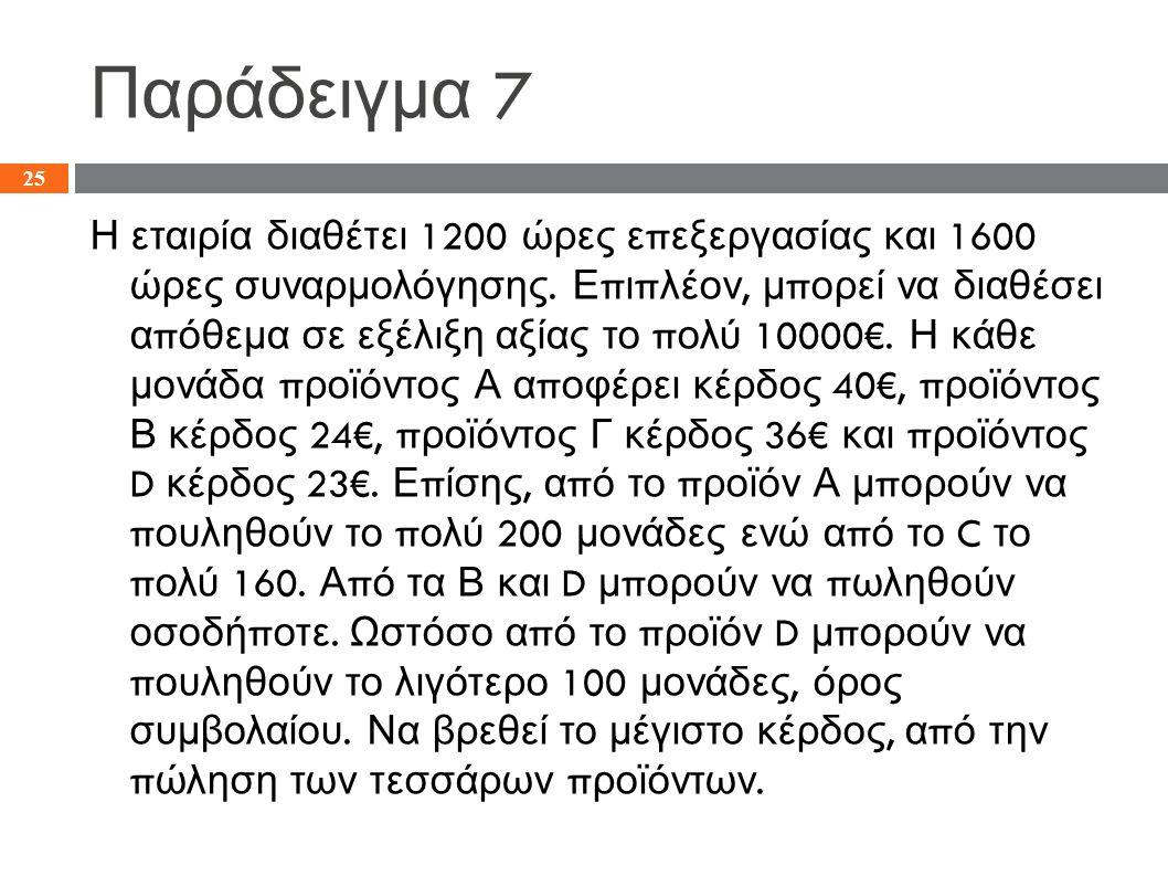 Παράδειγμα 7 Η εταιρία διαθέτει 1200 ώρες ε π εξεργασίας και 1600 ώρες συναρμολόγησης.