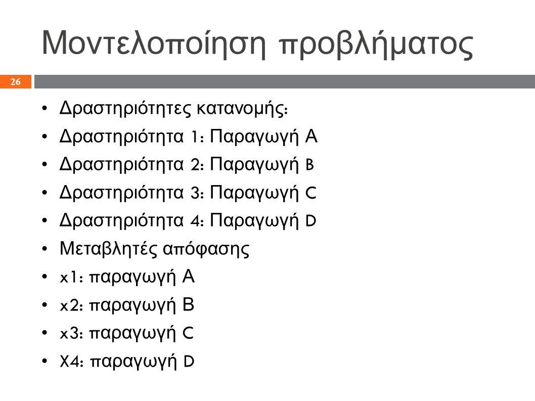 Μοντελο π οίηση π ροβλήματος Δραστηριότητες κατανομής : Δραστηριότητα 1: Παραγωγή Α Δραστηριότητα 2: Παραγωγή B Δραστηριότητα 3: Παραγωγή C Δραστηριότητα 4: Παραγωγή D Μεταβλητές α π όφασης x1: π αραγωγή Α x2: π αραγωγή Β x3: π αραγωγή C X4: π αραγωγή D 26