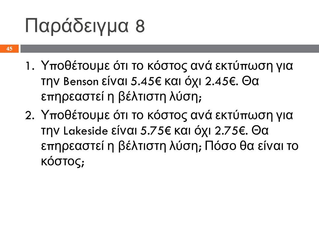 Παράδειγμα 8 1.Υ π οθέτουμε ότι το κόστος ανά εκτύ π ωση για την Benson είναι 5.45€ και όχι 2.45€.