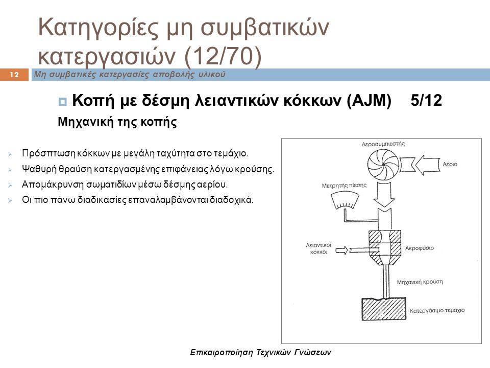 Κατηγορίες μη συμβατικών κατεργασιών (12/70) Μη συμβατικές κατεργασίες αποβολής υλικού 12 Επικαιροποίηση Τεχνικών Γνώσεων  Κοπή με δέσμη λειαντικών κ