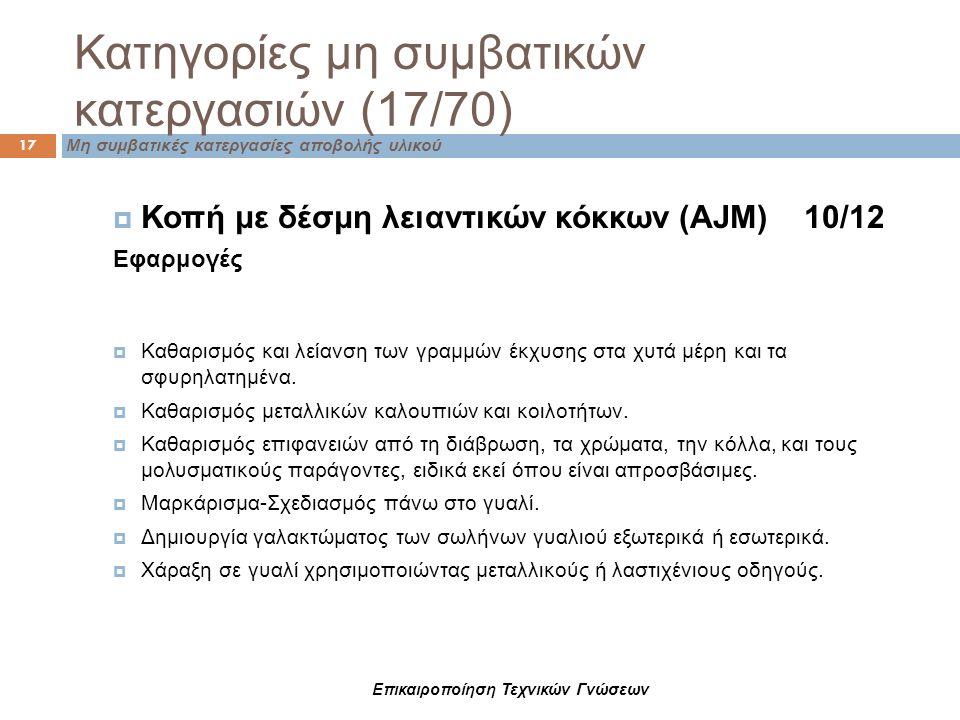 Κατηγορίες μη συμβατικών κατεργασιών (17/70) Μη συμβατικές κατεργασίες αποβολής υλικού 17  Κοπή με δέσμη λειαντικών κόκκων (ΑJM) 10/12 Εφαρμογές  Κα
