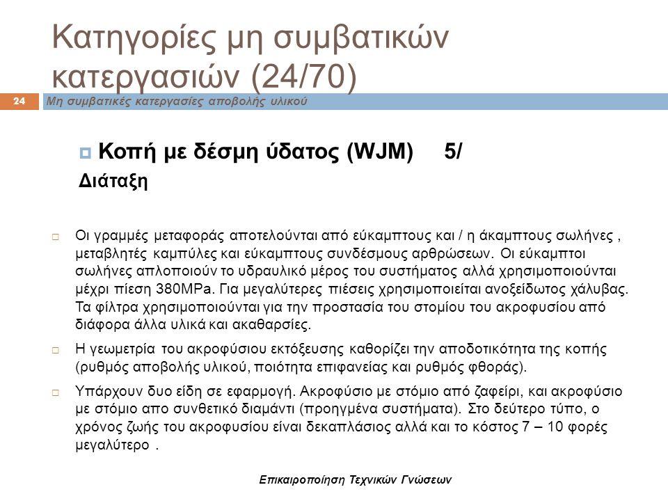Κατηγορίες μη συμβατικών κατεργασιών (24/70) 24 Μη συμβατικές κατεργασίες αποβολής υλικού  Κοπή με δέσμη ύδατος (WJM) 5/ Διάταξη  Οι γραμμές μεταφορ