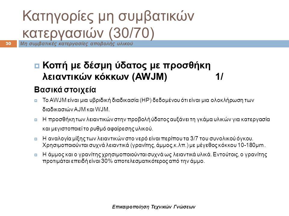Μη συμβατικές κατεργασίες αποβολής υλικού Κατηγορίες μη συμβατικών κατεργασιών (30/70) 30  Κοπή με δέσμη ύδατος με προσθήκη λειαντικών κόκκων (AWJM)