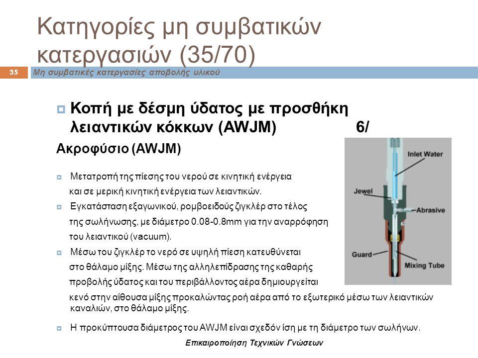 Μη συμβατικές κατεργασίες αποβολής υλικού Κατηγορίες μη συμβατικών κατεργασιών (35/70) 35  Κοπή με δέσμη ύδατος με προσθήκη λειαντικών κόκκων (AWJM)