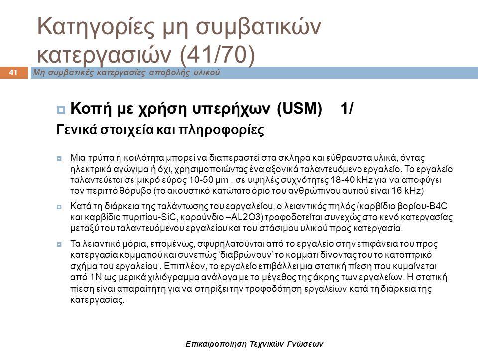 Επικαιροποίηση Τεχνικών Γνώσεων Μη συμβατικές κατεργασίες αποβολής υλικού 41 Κατηγορίες μη συμβατικών κατεργασιών (41/70)  Κοπή με χρήση υπερήχων (US
