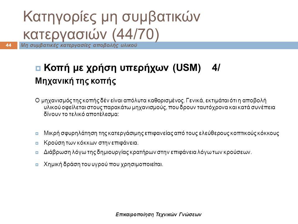 Κατηγορίες μη συμβατικών κατεργασιών (44/70) Μη συμβατικές κατεργασίες αποβολής υλικού 44  Κοπή με χρήση υπερήχων (USM) 4/ Μηχανική της κοπής Ο μηχαν
