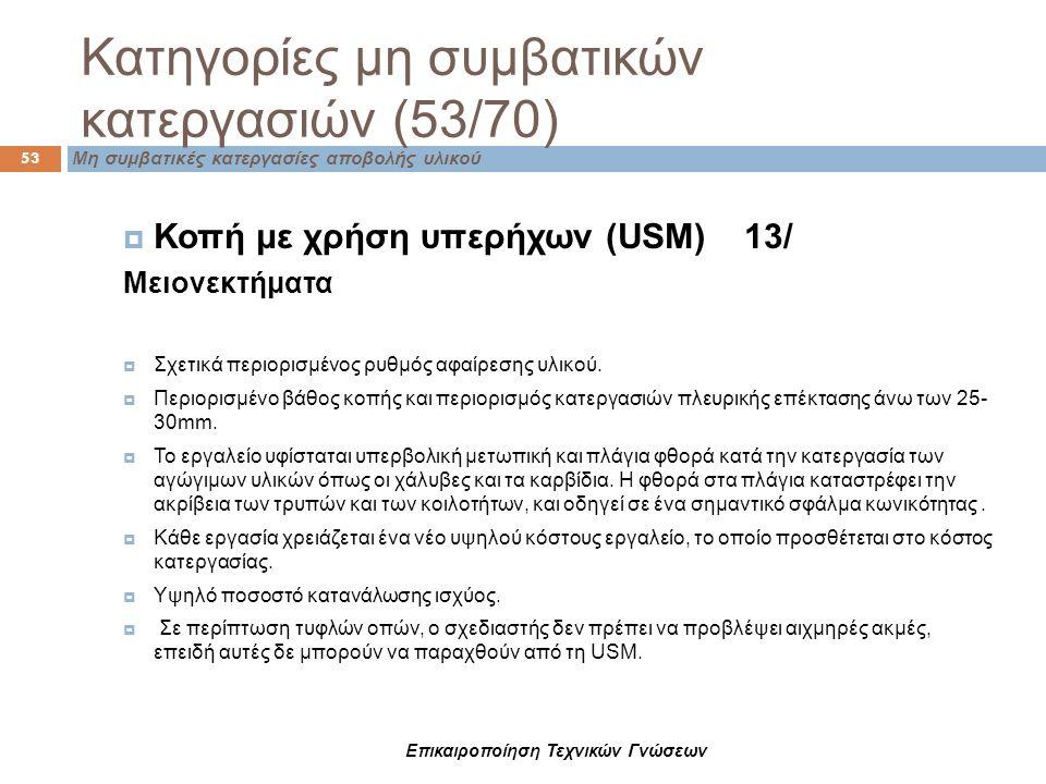 Κατηγορίες μη συμβατικών κατεργασιών (53/70) Μη συμβατικές κατεργασίες αποβολής υλικού 53  Κοπή με χρήση υπερήχων (USM) 13/ Μειονεκτήματα  Σχετικά π