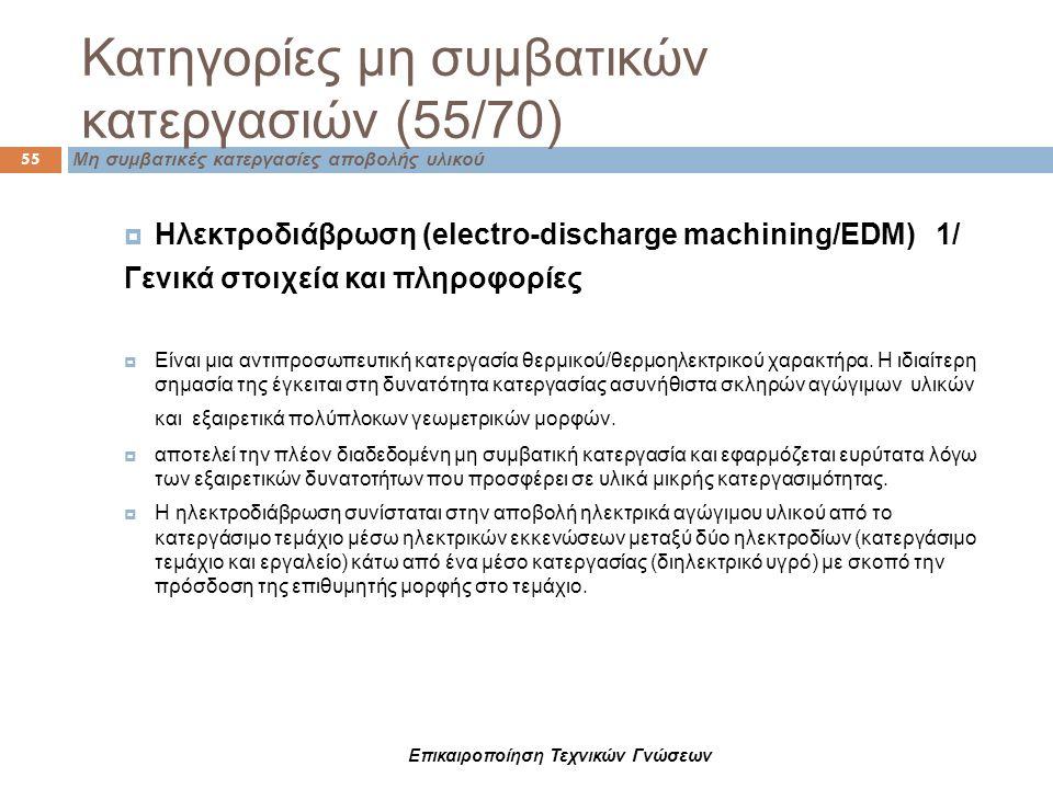  Ηλεκτροδιάβρωση (electro-discharge machining/EDM) 1/ Γενικά στοιχεία και πληροφορίες  Είναι μια αντιπροσωπευτική κατεργασία θερμικού/θερμοηλεκτρικο