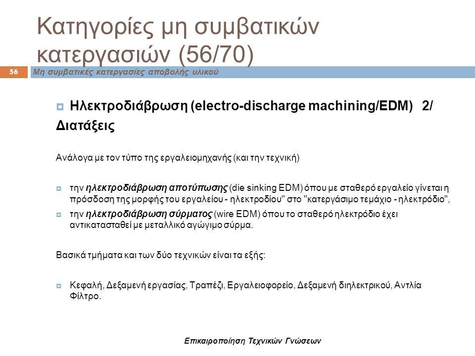 Κατηγορίες μη συμβατικών κατεργασιών (56/70) 56 Μη συμβατικές κατεργασίες αποβολής υλικού  Ηλεκτροδιάβρωση (electro-discharge machining/EDM) 2/ Διατά