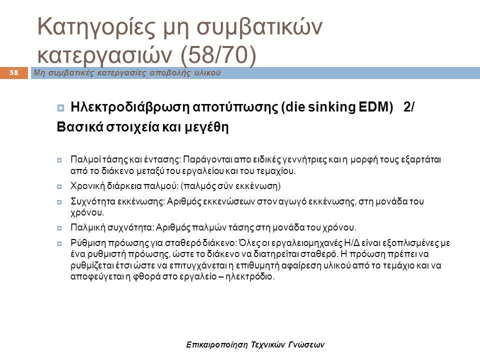 Κατηγορίες μη συμβατικών κατεργασιών (58/70) 58 Μη συμβατικές κατεργασίες αποβολής υλικού  Ηλεκτροδιάβρωση αποτύπωσης (die sinking EDM) 2/ Βασικά στο