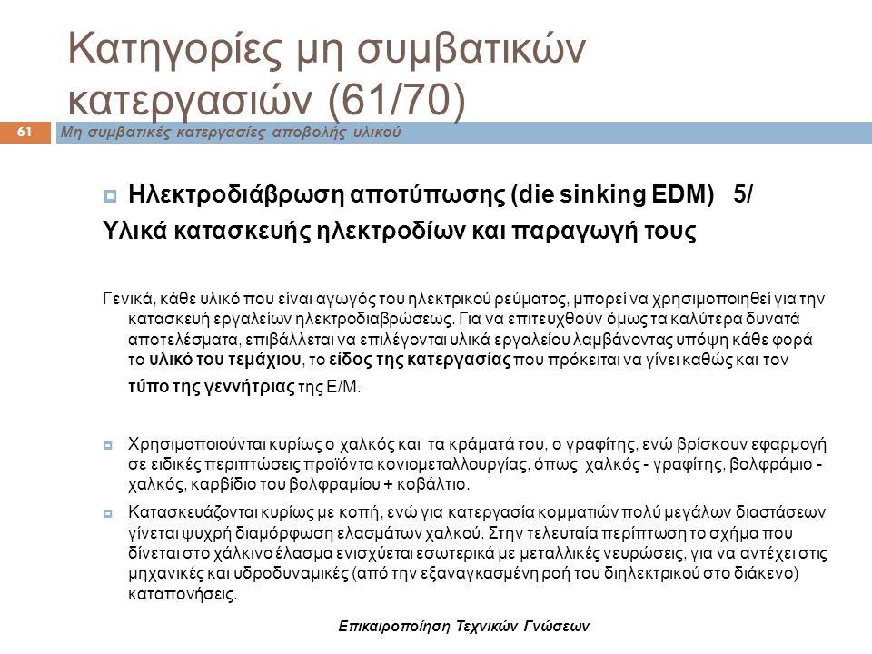 Επικαιροποίηση Τεχνικών Γνώσεων Κατηγορίες μη συμβατικών κατεργασιών (61/70) 61 Μη συμβατικές κατεργασίες αποβολής υλικού  Ηλεκτροδιάβρωση αποτύπωσης