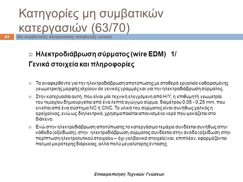 Επικαιροποίηση Τεχνικών Γνώσεων  Ηλεκτροδιάβρωση σύρματος (wire EDM) 1/ Γενικά στοιχεία και πληροφορίες  Τα αναφερθέντα για την ηλεκτροδιάβρωση αποτ