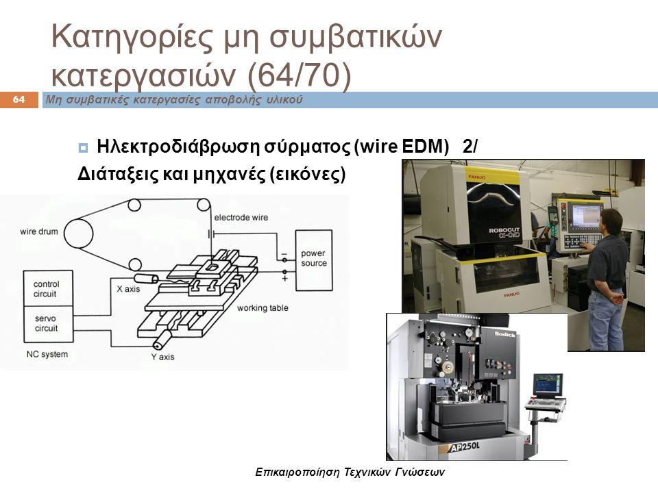 Επικαιροποίηση Τεχνικών Γνώσεων  Ηλεκτροδιάβρωση σύρματος (wire EDM) 2/ Διάταξεις και μηχανές (εικόνες) Κατηγορίες μη συμβατικών κατεργασιών (64/70)
