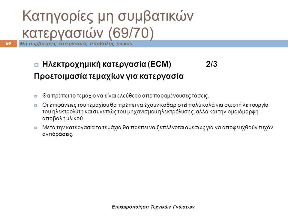 Κατηγορίες μη συμβατικών κατεργασιών (69/70) 69 Μη συμβατικές κατεργασίες αποβολής υλικού  Ηλεκτροχημική κατεργασία (ECM) 2/3 Προετοιμασία τεμαχίων γ