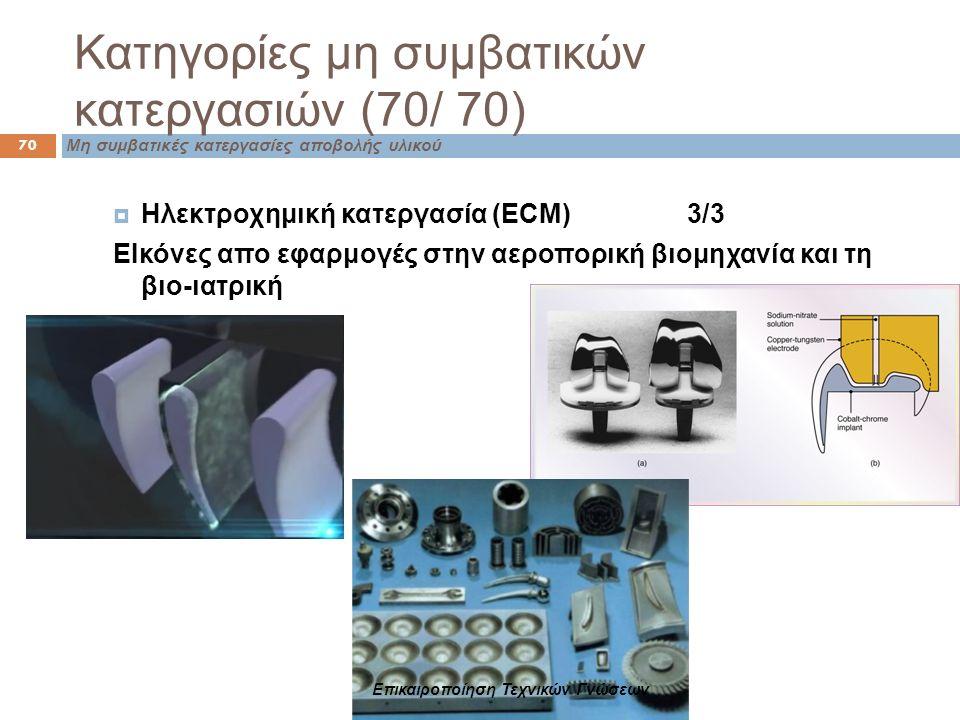 Κατηγορίες μη συμβατικών κατεργασιών (70/ 70) Μη συμβατικές κατεργασίες αποβολής υλικού 70  Ηλεκτροχημική κατεργασία (ECM) 3/3 ΕΙκόνες απο εφαρμογές