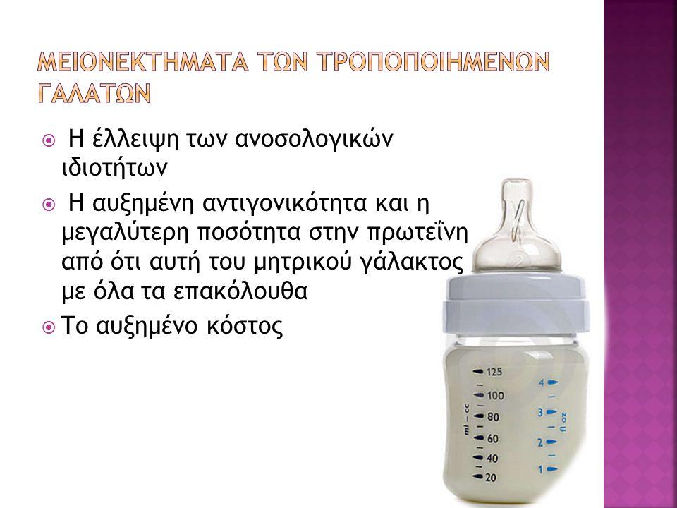  Η έλλειψη των ανοσολογικών ιδιοτήτων  Η αυξημένη αντιγονικότητα και η μεγαλύτερη ποσότητα στην πρωτεΐνη από ότι αυτή του μητρικού γάλακτος με όλα τα επακόλουθα  Το αυξημένο κόστος
