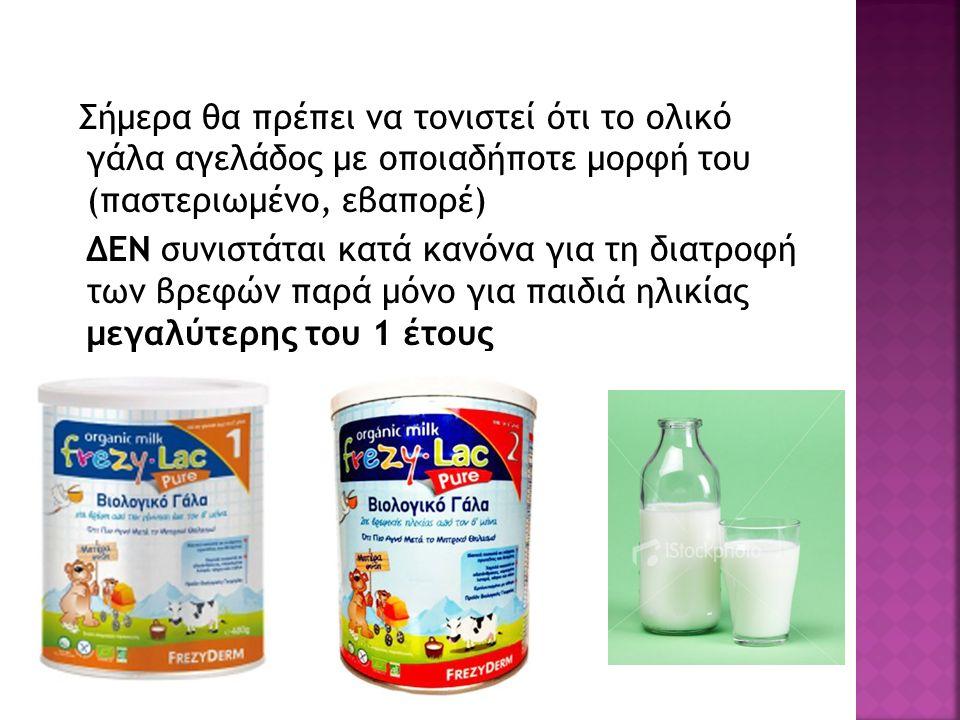 Σήμερα θα πρέπει να τονιστεί ότι το ολικό γάλα αγελάδος με οποιαδήποτε μορφή του (παστεριωμένο, εβαπορέ) ΔΕΝ συνιστάται κατά κανόνα για τη διατροφή των βρεφών παρά μόνο για παιδιά ηλικίας μεγαλύτερης του 1 έτους