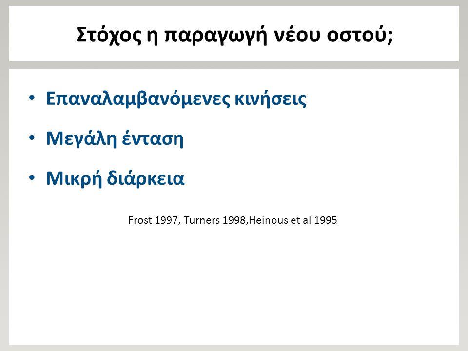 Στόχος η παραγωγή νέου οστού; Επαναλαμβανόμενες κινήσεις Μεγάλη ένταση Μικρή διάρκεια Frost 1997, Turners 1998,Heinous et al 1995