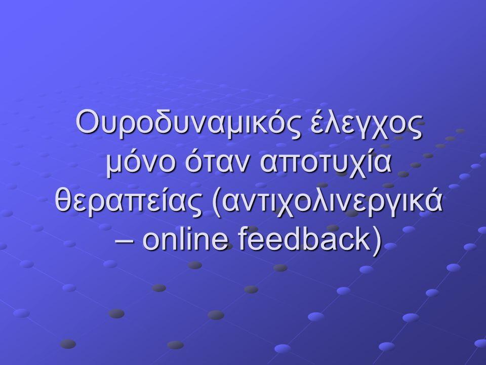 Ουροδυναμικός έλεγχος μόνο όταν αποτυχία θεραπείας (αντιχολινεργικά – online feedback)