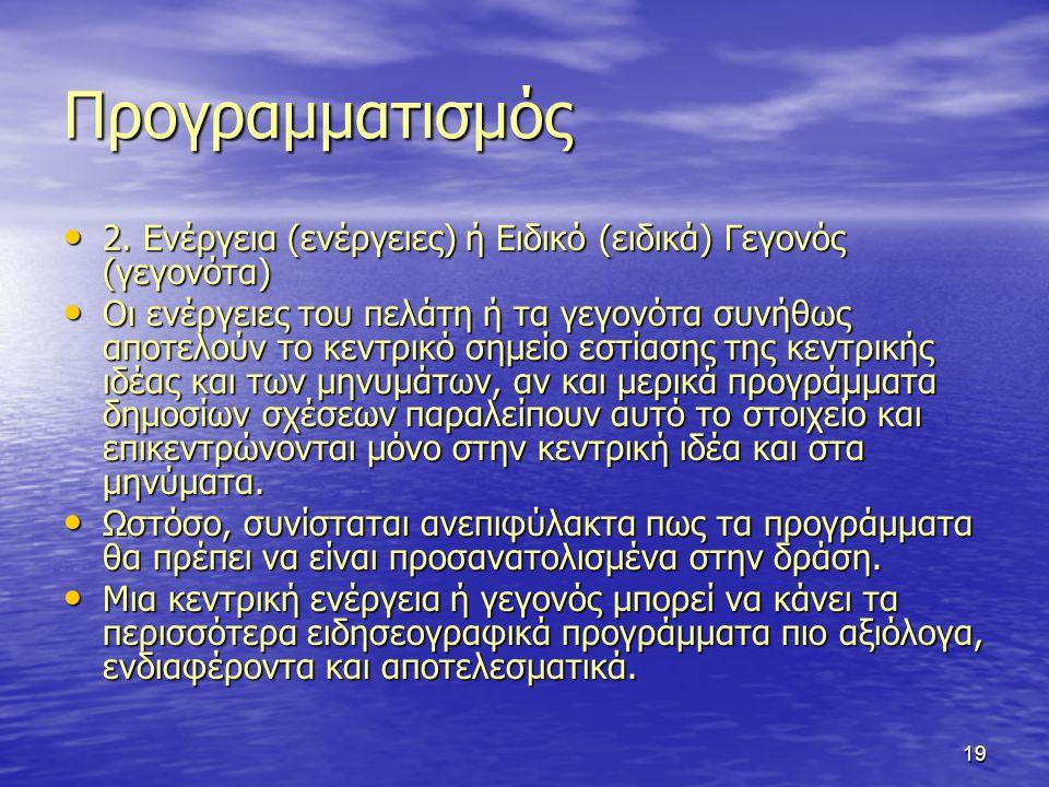 19 Προγραμματισμός 2. Ενέργεια (ενέργειες) ή Ειδικό (ειδικά) Γεγονός (γεγονότα) 2.