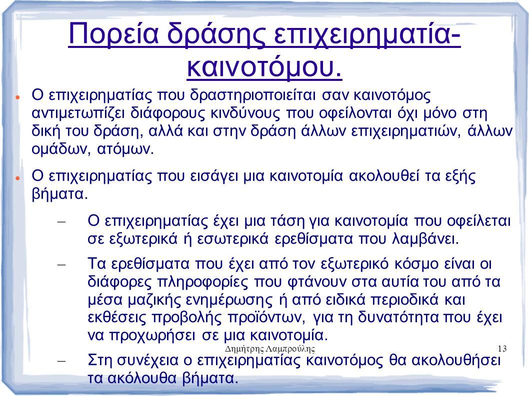 Δημήτρης Λαμπρούλης13 Πορεία δράσης επιχειρηματία- καινοτόμου.