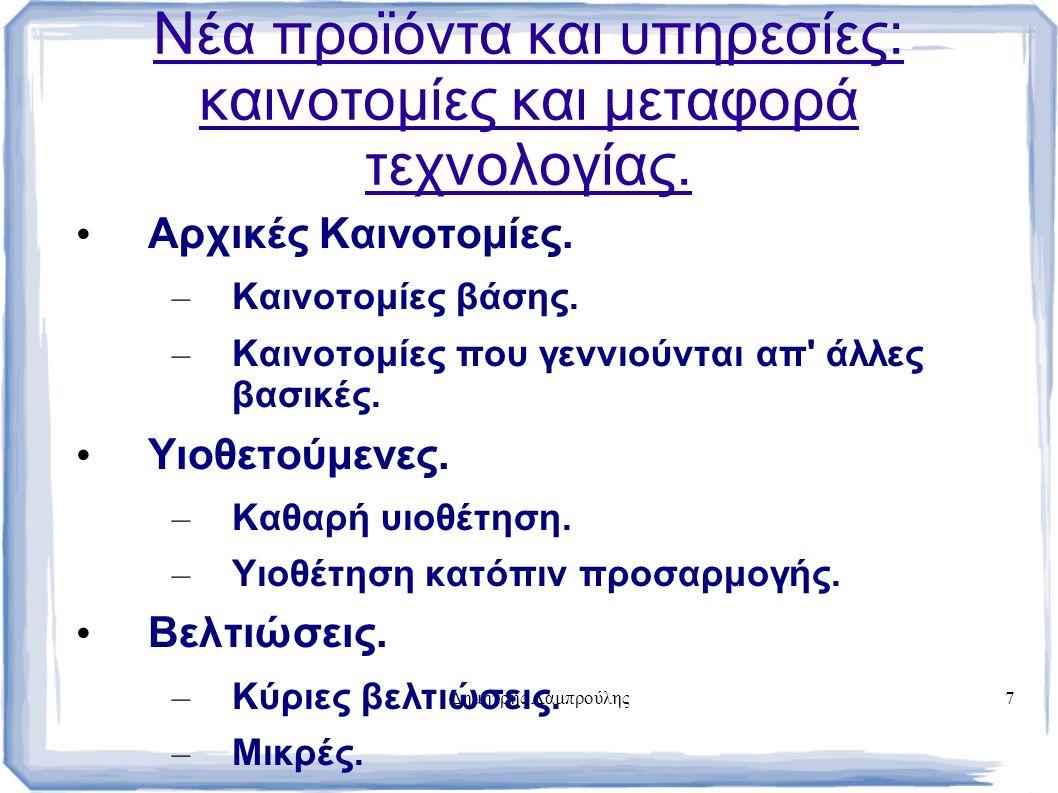 Δημήτρης Λαμπρούλης7 Νέα προϊόντα και υπηρεσίες: καινοτομίες και μεταφορά τεχνολογίας.