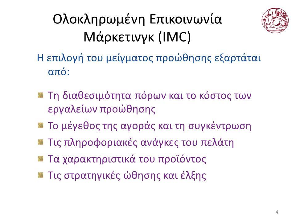 Ολοκληρωμένη Επικοινωνία Μάρκετινγκ (IMC) Η επιλογή του μείγματος προώθησης εξαρτάται από: Τη διαθεσιμότητα πόρων και το κόστος των εργαλείων προώθησης Το μέγεθος της αγοράς και τη συγκέντρωση Τις πληροφοριακές ανάγκες του πελάτη Τα χαρακτηριστικά του προϊόντος Τις στρατηγικές ώθησης και έλξης 4