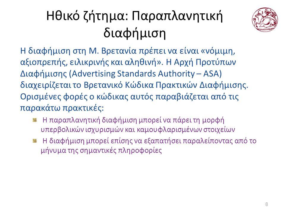 Ηθικό ζήτημα: Παραπλανητική διαφήμιση Η διαφήμιση στη M.
